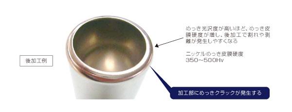 光沢が必要なニッケルメッキ処理部品における皮膜硬度の変更による品質向上 (Before)